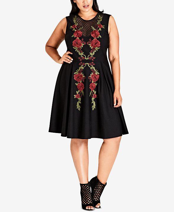 City Chic Trendy Plus Size Rose Adore Dress