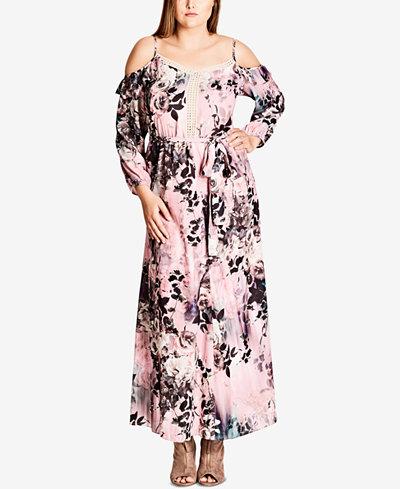 City Chic Trendy Plus Size Printed Cold-Shoulder Maxi Dress