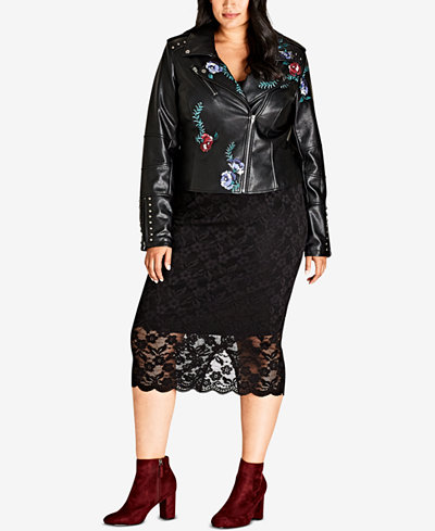 City Chic Trendy Plus Size Embroidered Floral Faux-Leather Moto ...