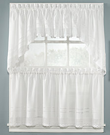 "CHF Peri Pair of Crochet 58"" x 24"" Cafe Curtains"
