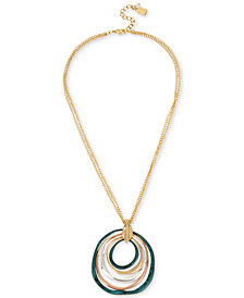 Robert Lee Morris Soho Two-Tone Multi-Circle Sculptural Pendant Necklace