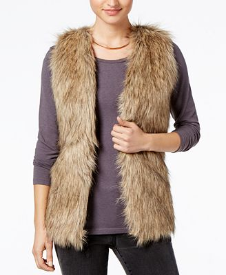 Hippie Rose Juniors' Faux-Fur Sweater Vest