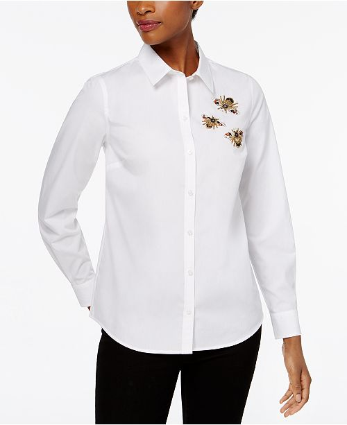 Charter Club Cotton Embellished Bees Shirt, Created for Macy's