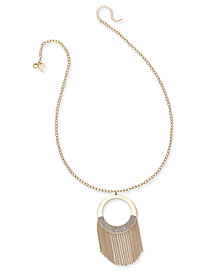 Thalia Sodi Gold-Tone Long Circle Fringe Pendant Necklace, Created for Macy's