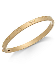 kate spade new york Gold-Tone Engraved Bow Bangle Bracelet