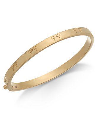 Kate Spade New York Gold Tone Engraved Bow Bangle Bracelet Fashion