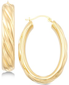 Ribbed Hoop Earrings in 14k Gold over Resin, Created for Macy's