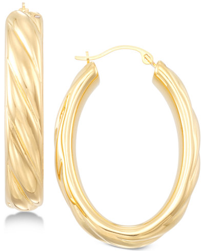 Signature Gold Ribbed Hoop Earrings in 14k Gold over Resin, Created for Macy's