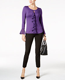 Cable & Gauge Ruffled Bell-Sleeve Top & ECI Pull-On Pants