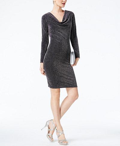 Michael Kors Pee Metallic Cowl Neck Sheath Dress