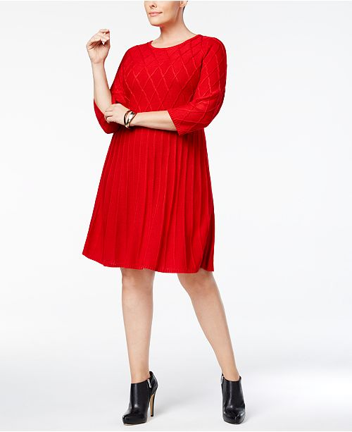 Jessica Howard Plus Size Fit Flare Sweater Dress Dresses Women