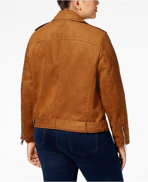 936a4396bd2 Levi s Plus Size Faux-Suede Belted Moto Jacket   Reviews - Jackets ...