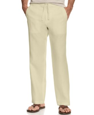 Image of Tasso Elba Men's 100% Linen Drawstring Pants, Created for Macy's