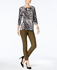 NY Collection Keyhole Top & ECI Pull-On Pants