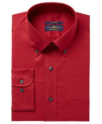 Club Room Men's Big & Tall Regular Fit Solid Pinpoint Dress Shirt, Created for Macy's
