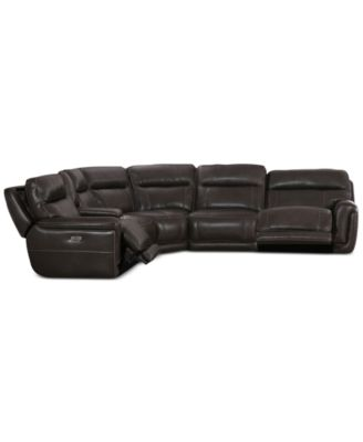 Summerbridge 6-Pc. Leather Sectional Sofa with 2 Power Reclining Chairs, Power Headrests and Console with USB Power Outlet
