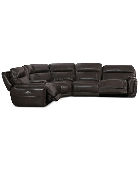 Furniture Summerbridge 6-Pc. Leather Sectional Sofa with 2 Power Reclining Chairs, Power Headrests and Console with USB Power Outlet