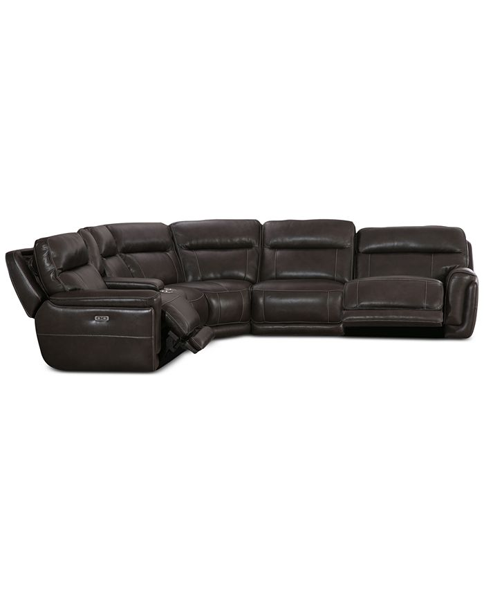 Furniture - Summerbridge 6-Pc. Leather Sectional with 2 Power Reclining Chairs and Power Headrests