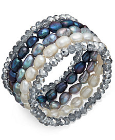 5-Pc. Set White, Gray & Peacock Cultured Freshwater Baroque Pearl (7mm) and Rondel Crystal Stretch Bracelets