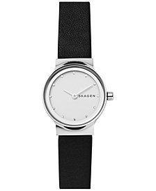 Skagen Women's Freja Black Leather Strap Watch 26mm