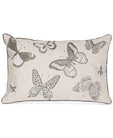 "Sanderson Etching & Roses Butterfly Embroidery 12"" x 18"" Decorative Pillow"