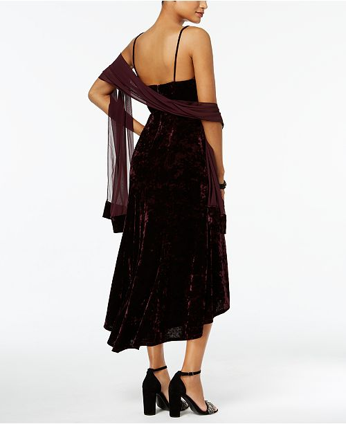Vince Camuto Velvet High-Low Slip Dress with Chiffon Scarf - Dresses