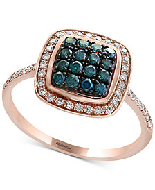 Bella Bleu by EFFY® Diamond Cluster Halo Ring (3/8 ct. t.w.) in 14k Rose Gold