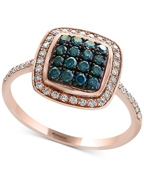 EFFY Collection Bella Bleu by EFFY® Diamond Cluster Halo Ring (3/8 ct. t.w.) in 14k Rose Gold