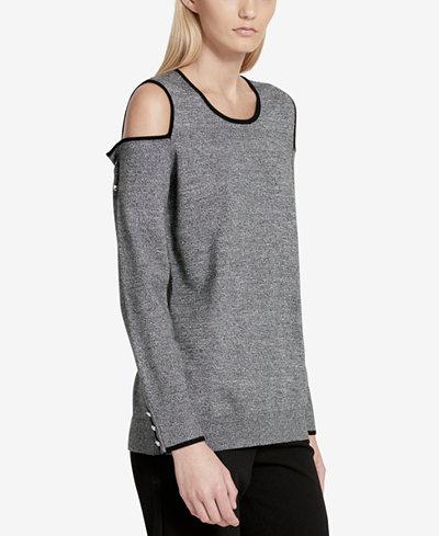 Calvin Klein Contrast-Trim Cold-Shoulder Sweater