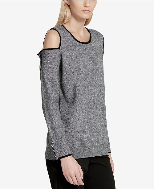Calvin Klein Contrast-Trim Cold-Shoulder Sweater