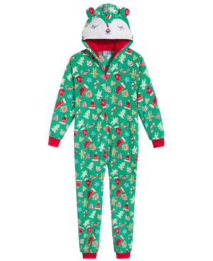 Max  Olivia Hooded HolidayPrint Coverall Little Girls (46X)  Big Girls (716) Created for Macys