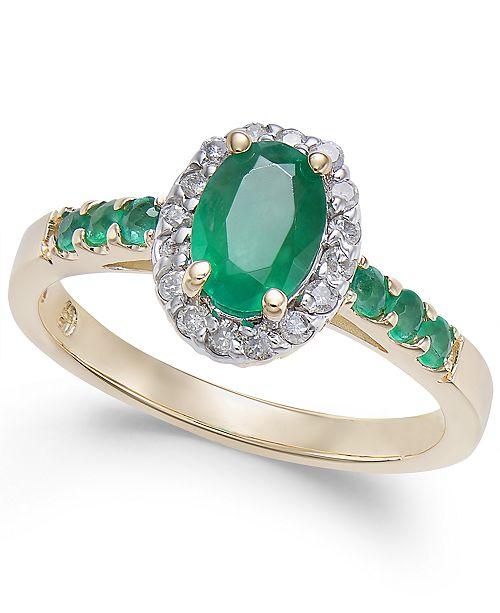 Macy's Emerald (1 ct. t.w.) & Diamond (1/6 ct. t.w.) Ring in 14k Gold