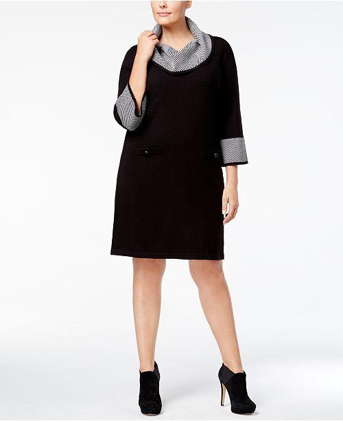 Jessica Howard Plus Size Zigzag Trimmed Cowl Neck Sweater Dress