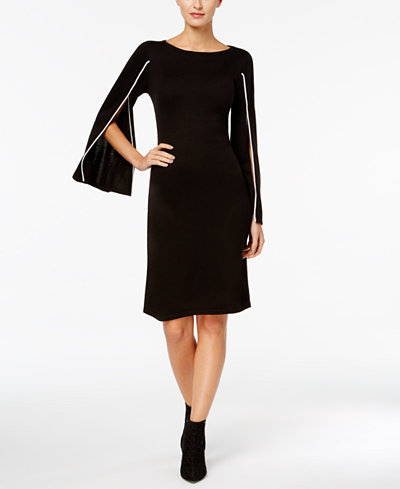 Calvin Klein Piped Split-Sleeve Sweater Dress