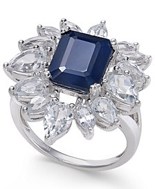 Blue Sapphire (4 ct. t.w.) & White Sapphire (3-1/2 ct. t.w.) Ring in Sterling Silver
