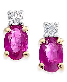 Ruby (1-1/5 ct. t.w.) & Diamond (1/10 ct. t.w.) Stud Earrings in 14k Gold