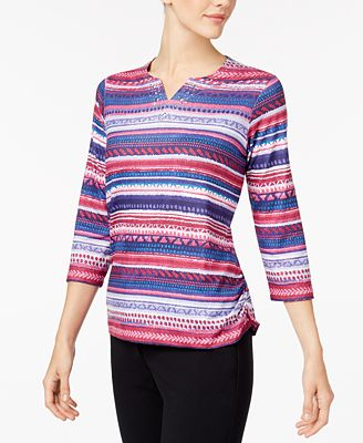Alfred Dunner Family Jewels Petite Printed Split-Neck Top