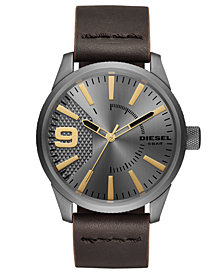 Diesel Men's Rasp Brown Leather Strap Watch 46mm