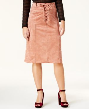 FAUX-SUEDE LACE-UP MIDI SKIRT
