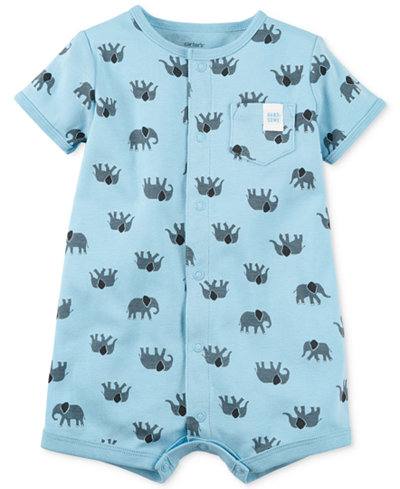 Carter's Elephant-Print Cotton Romper, Baby Boys