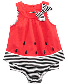 First Impressions Watermelon Cotton Skirted Romper, Baby Girls, Created for Macy's