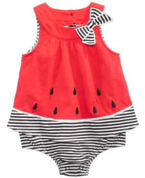 First Impressions Watermelon Cotton Skirted Romper Baby Girls Created for Macys