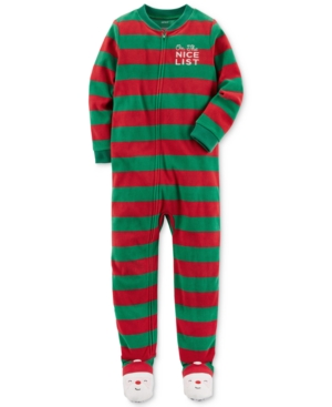 Carters 1Pc Striped Santa Footed Pajamas Little Boys (47)  Big Boys (820)