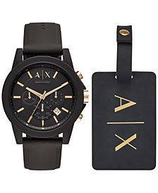 A|X Armani Exchange Men's Chronograph Outerbanks Black Silicone Strap Watch 45mm Gift Set
