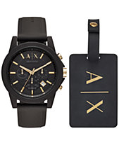 5aca67d95ffb9 A X Armani Exchange Men s Chronograph Outerbanks Black Silicone Strap Watch  45mm Gift Set