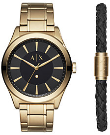A|X Armani Exchange Men's Nico Diamond-Accent Gold-Tone Bracelet Watch 44mm Gift Set