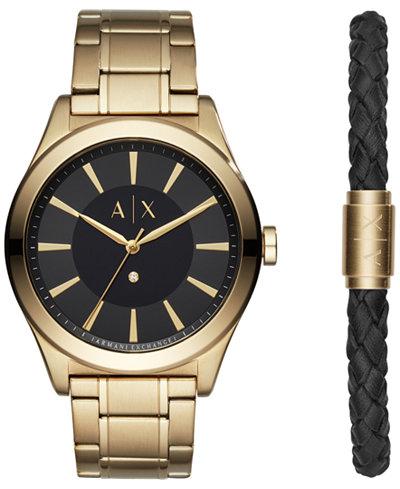 A X Armani Exchange Men's Nico Diamond-Accent Gold-Tone Bracelet Watch 44mm Gift Set