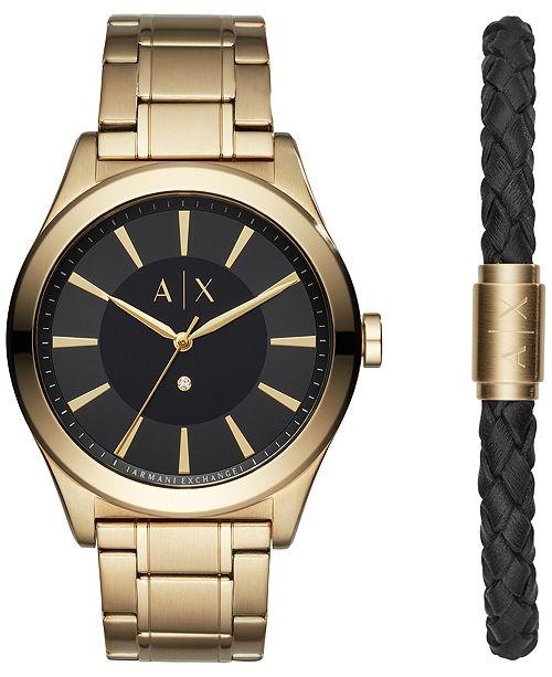 A|X Armani Exchange Men's Nico Diamond-Accent Gold-Tone Bracelet Watch 44mm Gift Set