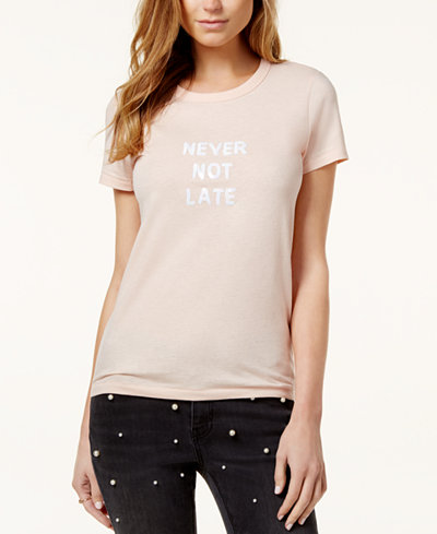 Bow & Drape Never Not Late Embellished Graphic T-Shirt
