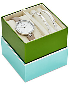 kate spade new york Women's Holland Gray Leather Strap 34mm Watch & Bangle Bracelets Box Gift Set